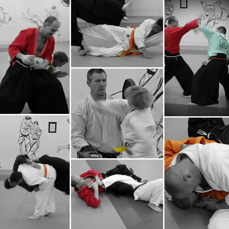 A compilation picture showing jujitsu techniques including striking, grappling, throwing and joint locks.