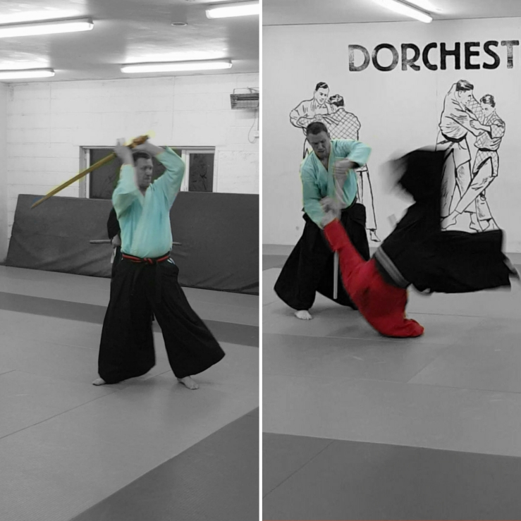 Composite picture: left image showing kenjutsu (sword), with the practitioner demonstrating a downwards strike.  The right picture shows jojutsu, a 4ft stick being used to defend against an attack woth a tanto (knife)