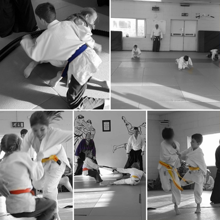 Compilation picture showing children being active, having fun whilst training in jujitsu. Incuding relay races, tug of war and hop wrestling.